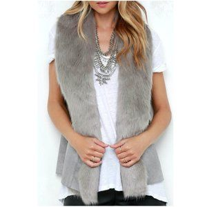 NWOT Lovestitch Faux Fur and Faux Suede Vest Large